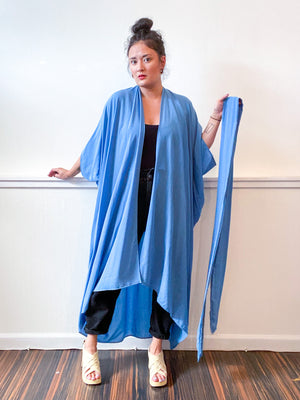 Solid High Low Kimono Powder Blue Rayon Challis