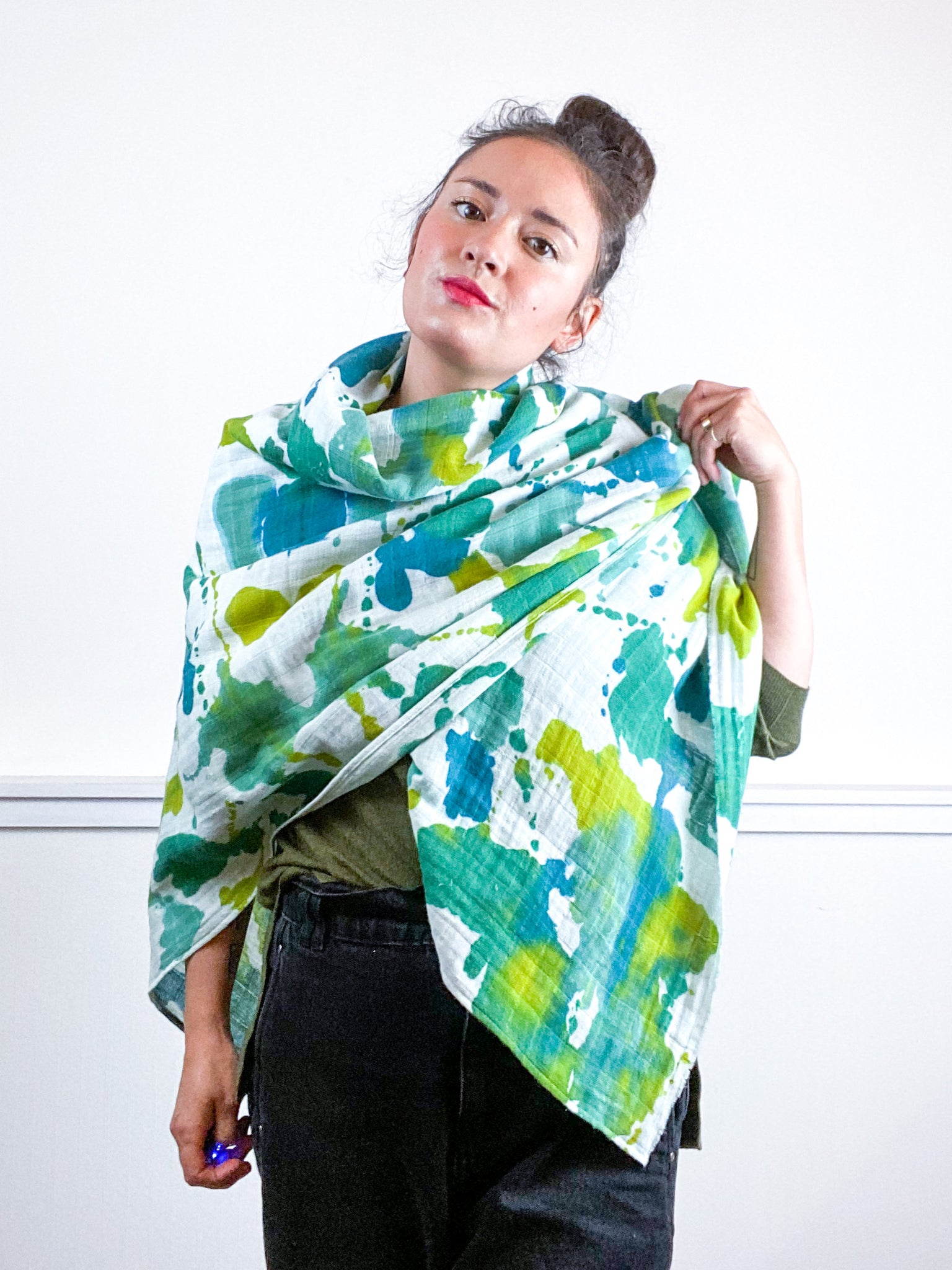 Hand-Dyed Large Square Scarf Emerald Sea Chartreuse Kingfisher