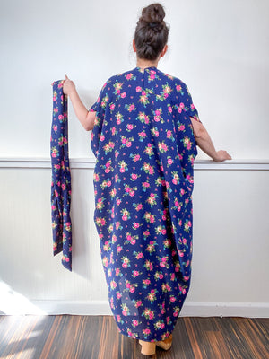 Print High Low Kimono Navy Pink Bouquet Satin