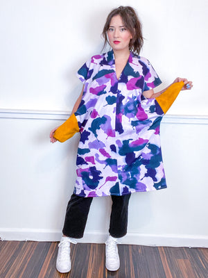 Hand-Dyed Sweatshirt Smock Dress Amethyst Orchid Teal Indigo