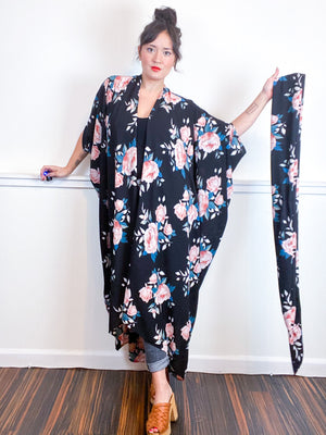 Print High Low Kimono Black Rose Floral Bubble Crepe