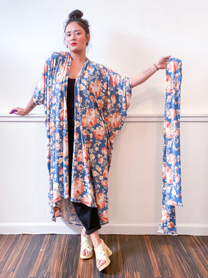 Print High Low Kimono Blue Pink Rose Knit