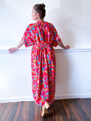 Print High Low Kimono Red Floral Bubble Crepe