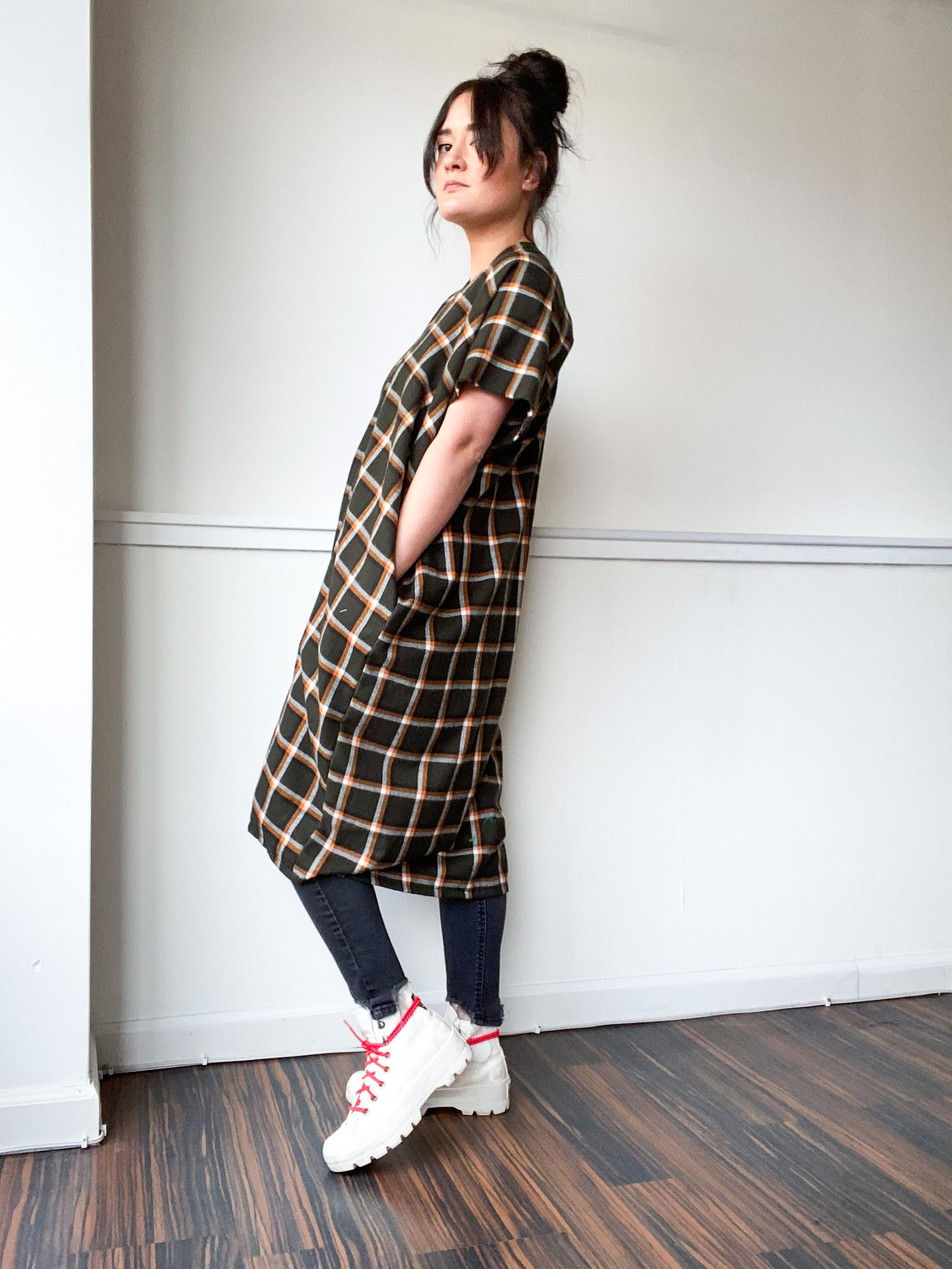 Plaid Midi Smock Dress Olive