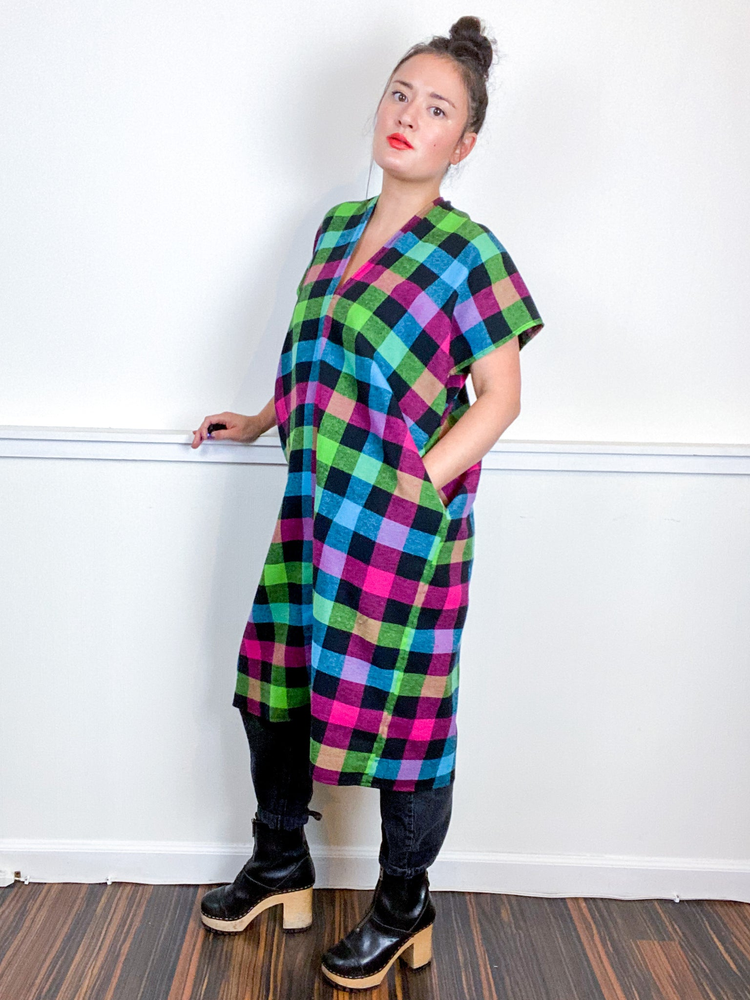 Plaid Smock Dress Multicolor Buffalo