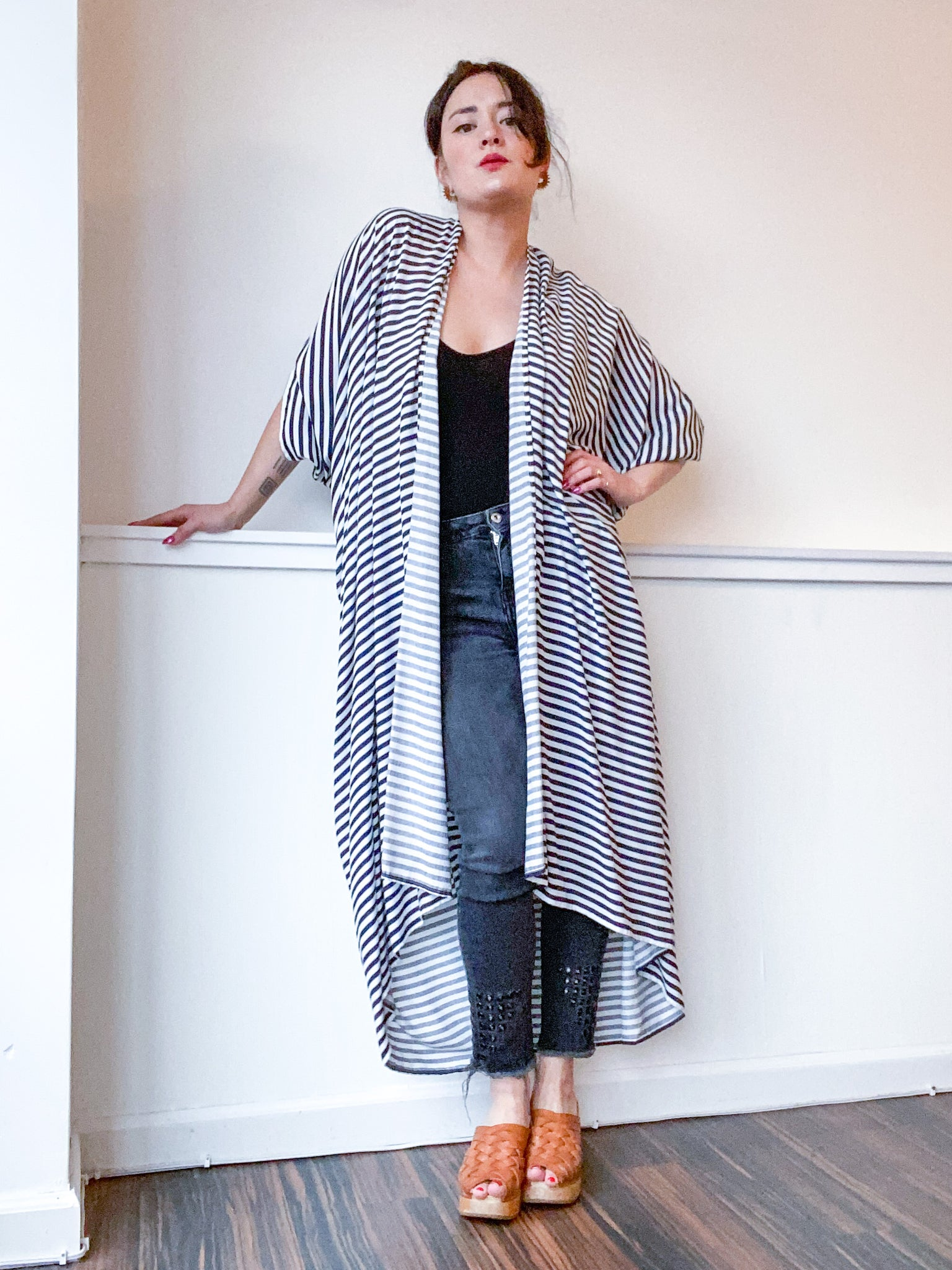 Print High Low Kimono Navy Stripes