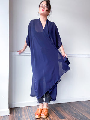 Print High Low Kimono Navy Georgette
