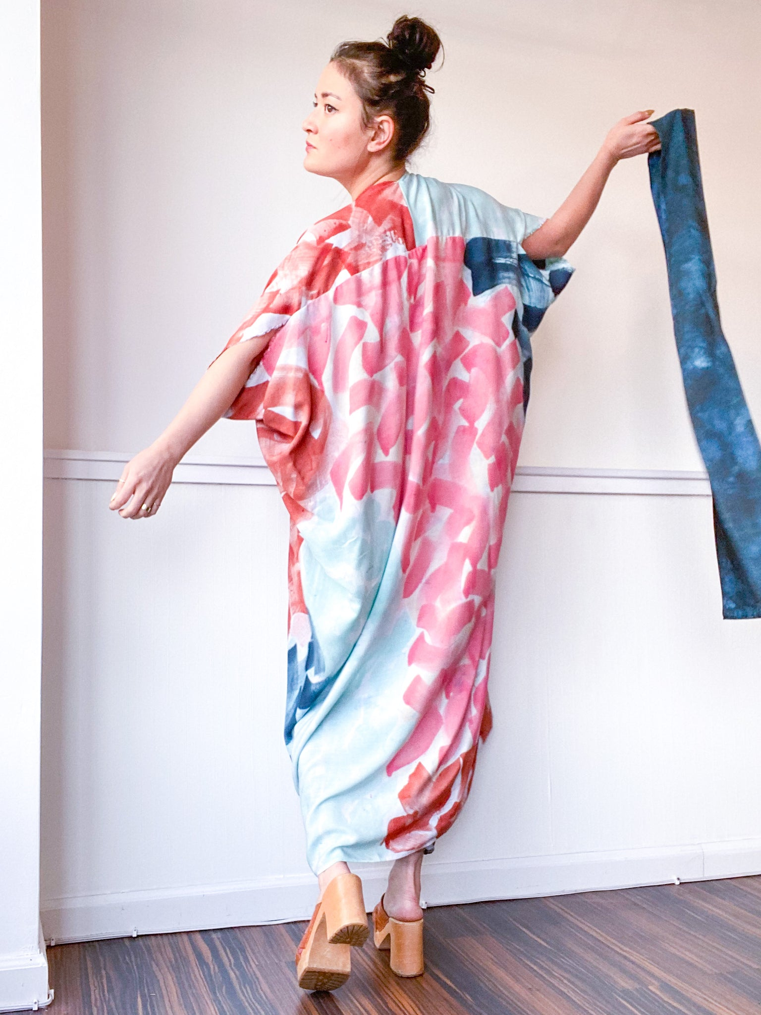 Limited Edition Hand-Dyed High Low Kimono Multi Wave 1