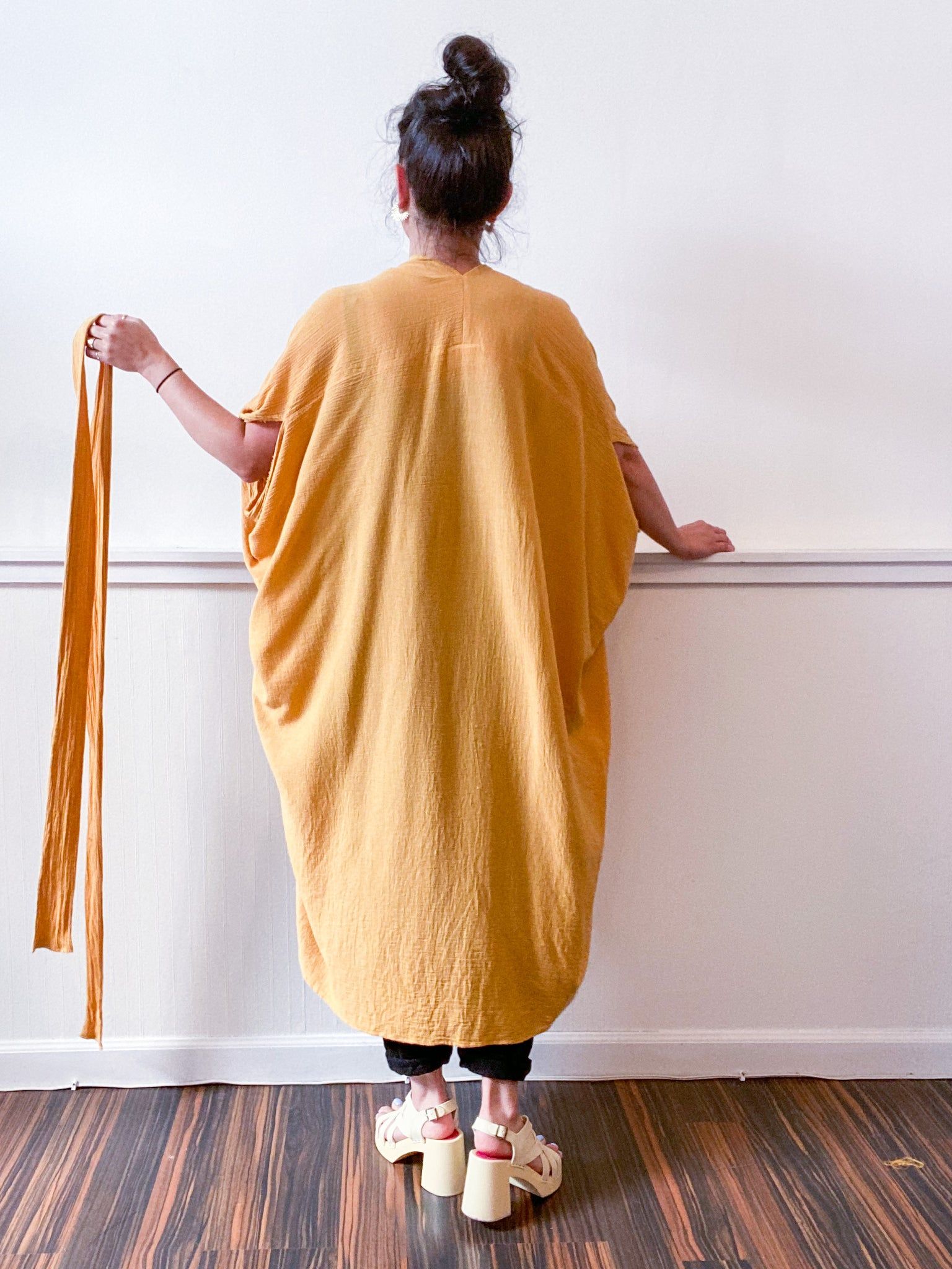 Solid High Low Kimono Mustard Cotton Gauze