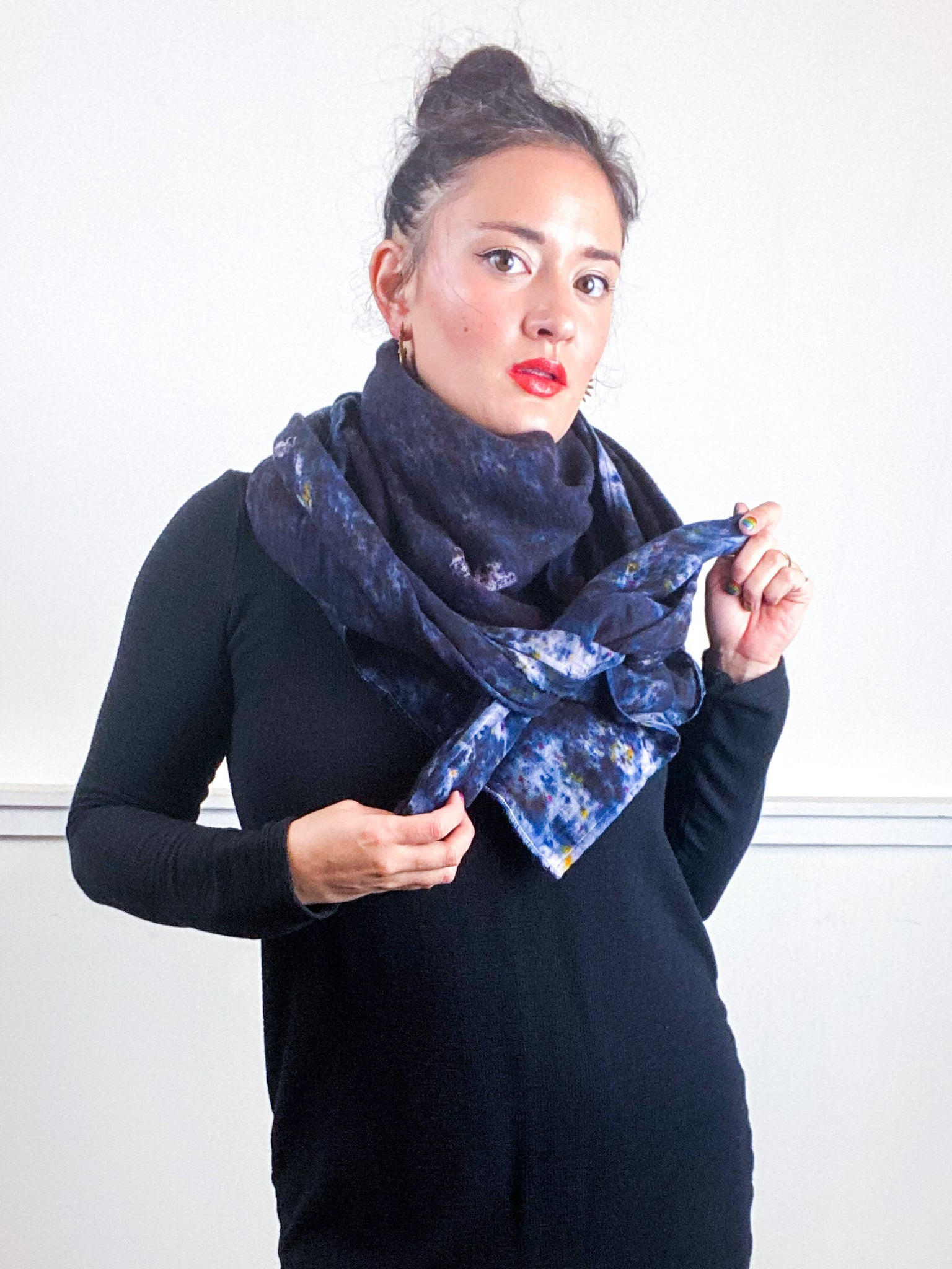 Hand-Dyed Large Square Scarf Deconstructed Black