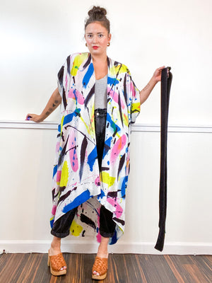 Limited Edition Hand-Dyed High Low Kimono Pink Raven Royal Lemon Gesture