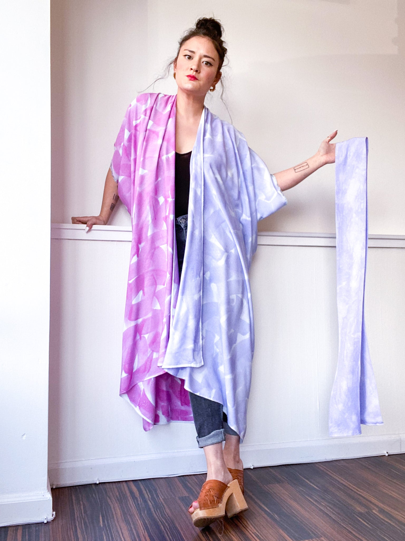 Limited Edition Hand-Dyed High Low Kimono Wisteria Lilac