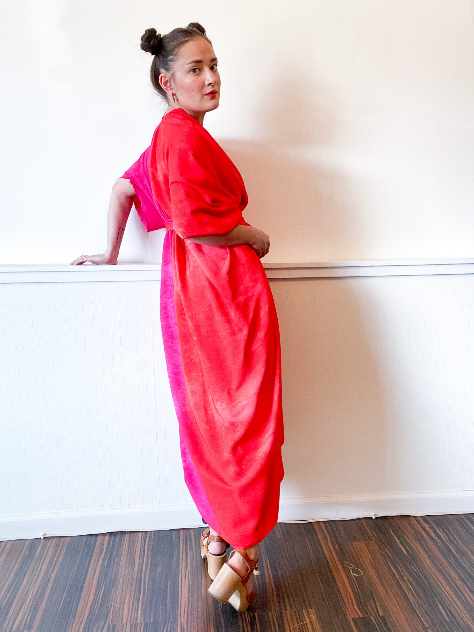 Hand-Dyed High Low Kimono Two Tone Fuchsia Scarlet