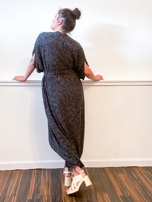 Solid High Low Kimono Charcoal Slub Sweater Knit