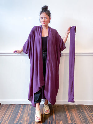 Solid High Low Kimono Dusty Purple Rayon Challis
