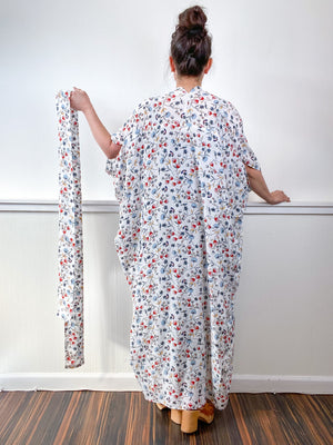 Print High Low Kimono White Red Blue Daisies Challis