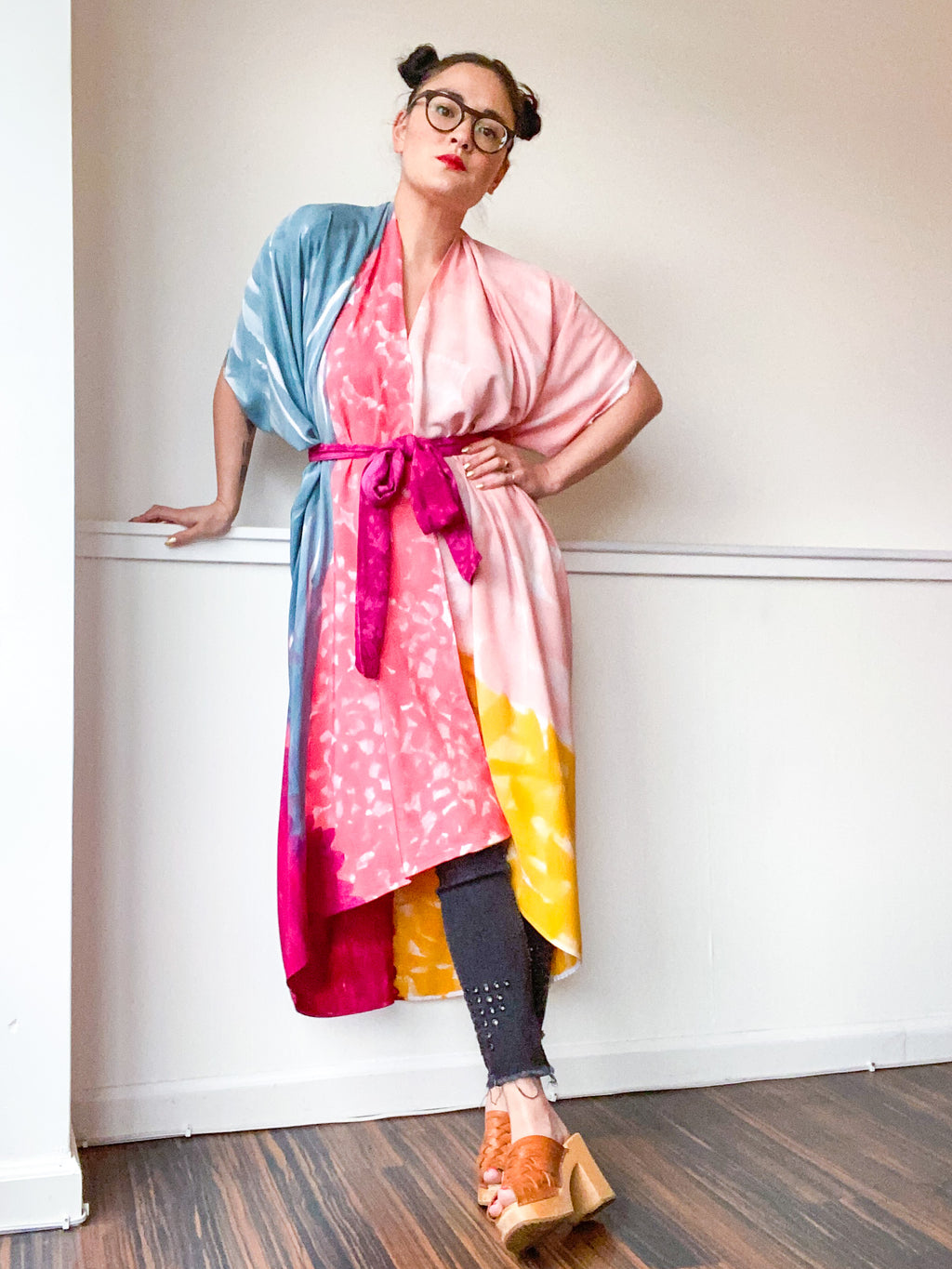 Limited Edition Hand-Dyed High Low Kimono Teal Pink Marigold