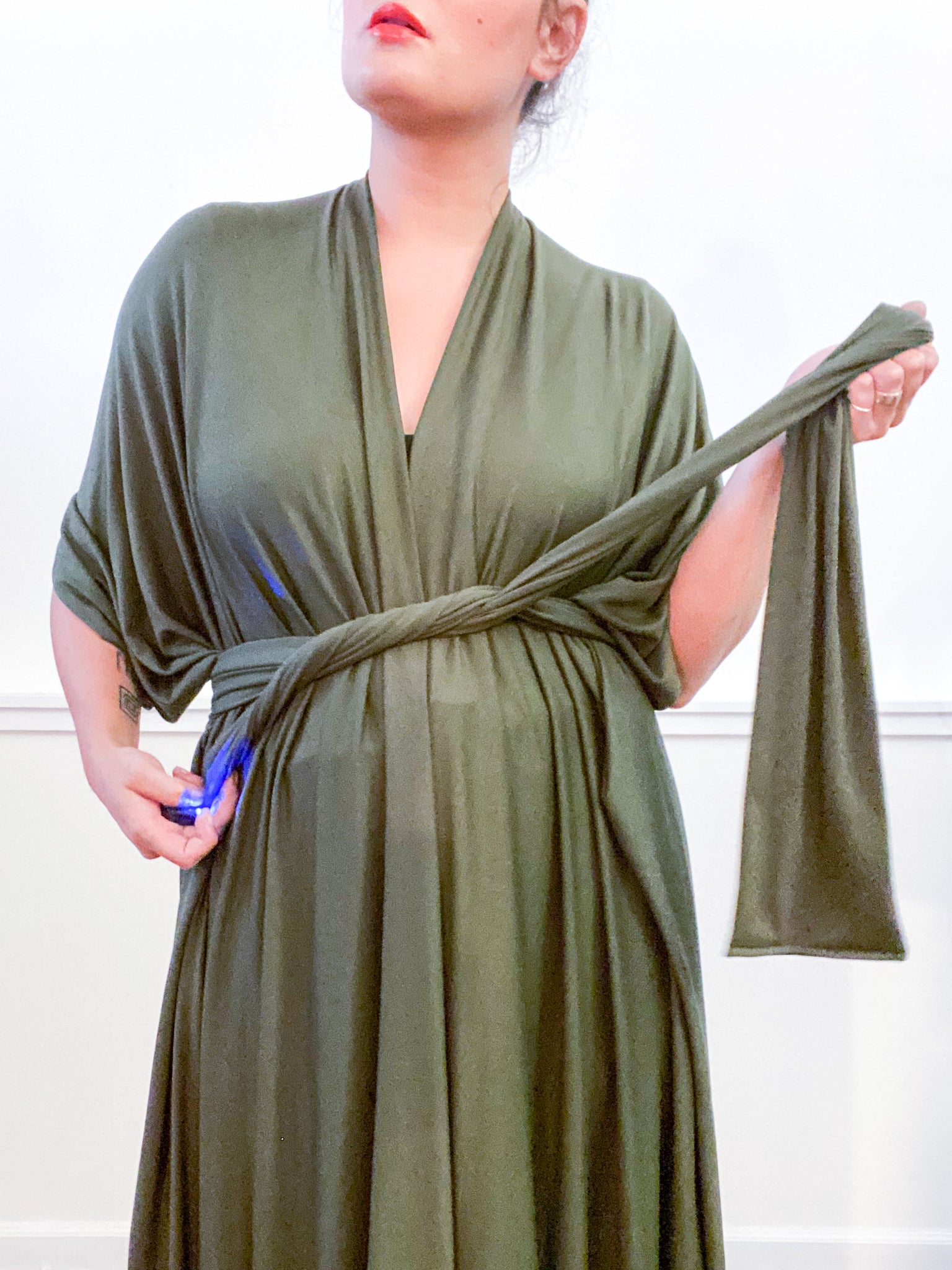 Solid High Low Kimono Olive Knit