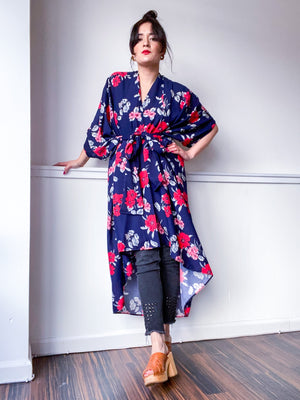 Print High Low Kimono Navy Red Floral