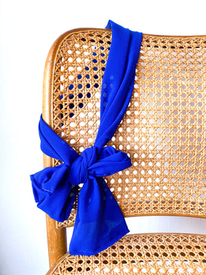 Skinny Scarf Solid Royal Blue Georgette