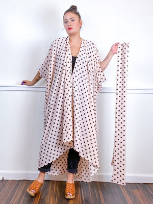 Print High Low Kimono Blush Polka Dots Bubble Crepe