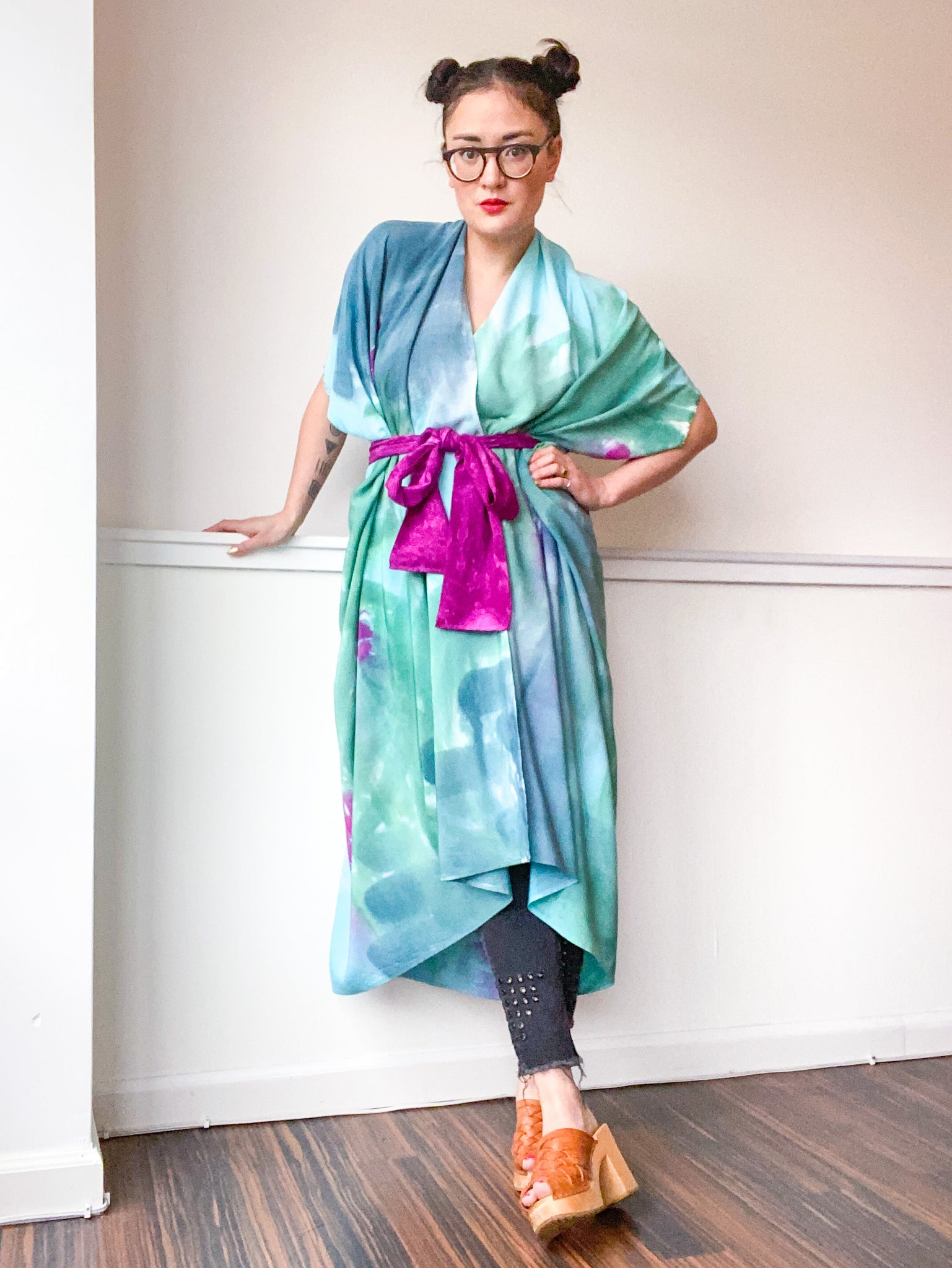 Limited Edition Hand-Dyed High Low Kimono Amethyst Teal Green