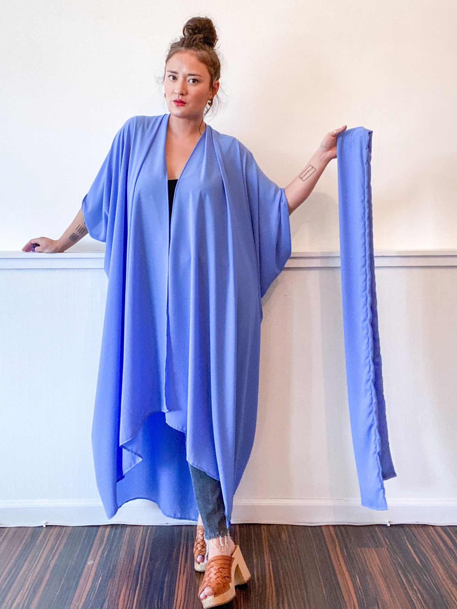 Solid High Low Kimono Periwinkle Georgette