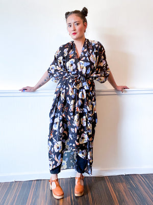 Print High Low Kimono Black Floral Georgette
