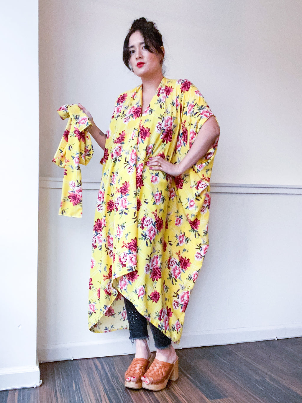 Print High Low Kimono Yellow Grid Floral