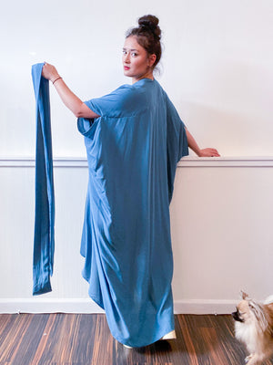 Solid High Low Kimono Dusty Teal Rayon Challis