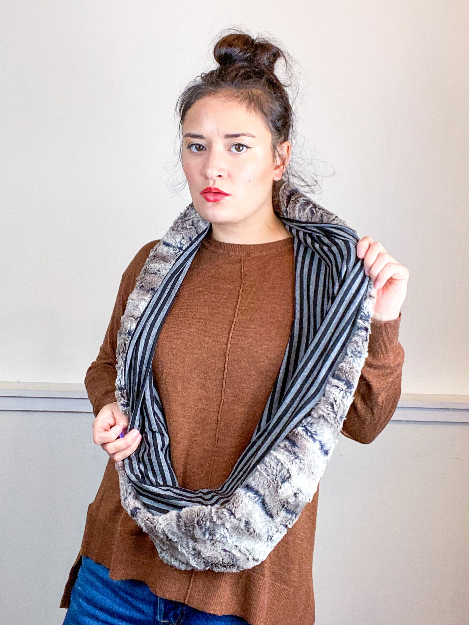 Faux Fur Circle Scarf Mocha on Black Pinstripes