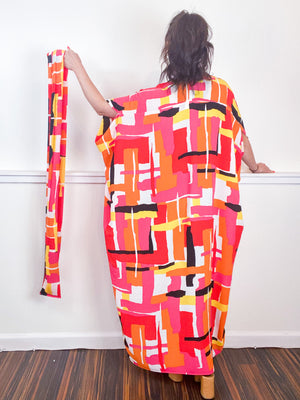 Print High Low Kimono Pink Orange Abstract Bubble Crepe