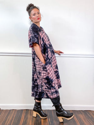 Over-Dye Plaid Smock Dress Pink Black