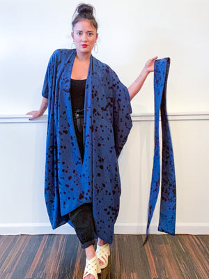 Hand-Dyed High Low Kimono Navy Black Pink Drops