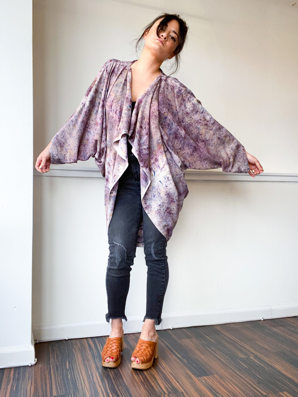 Hand-Dyed Waterfall Kimono Deconstructed Grey
