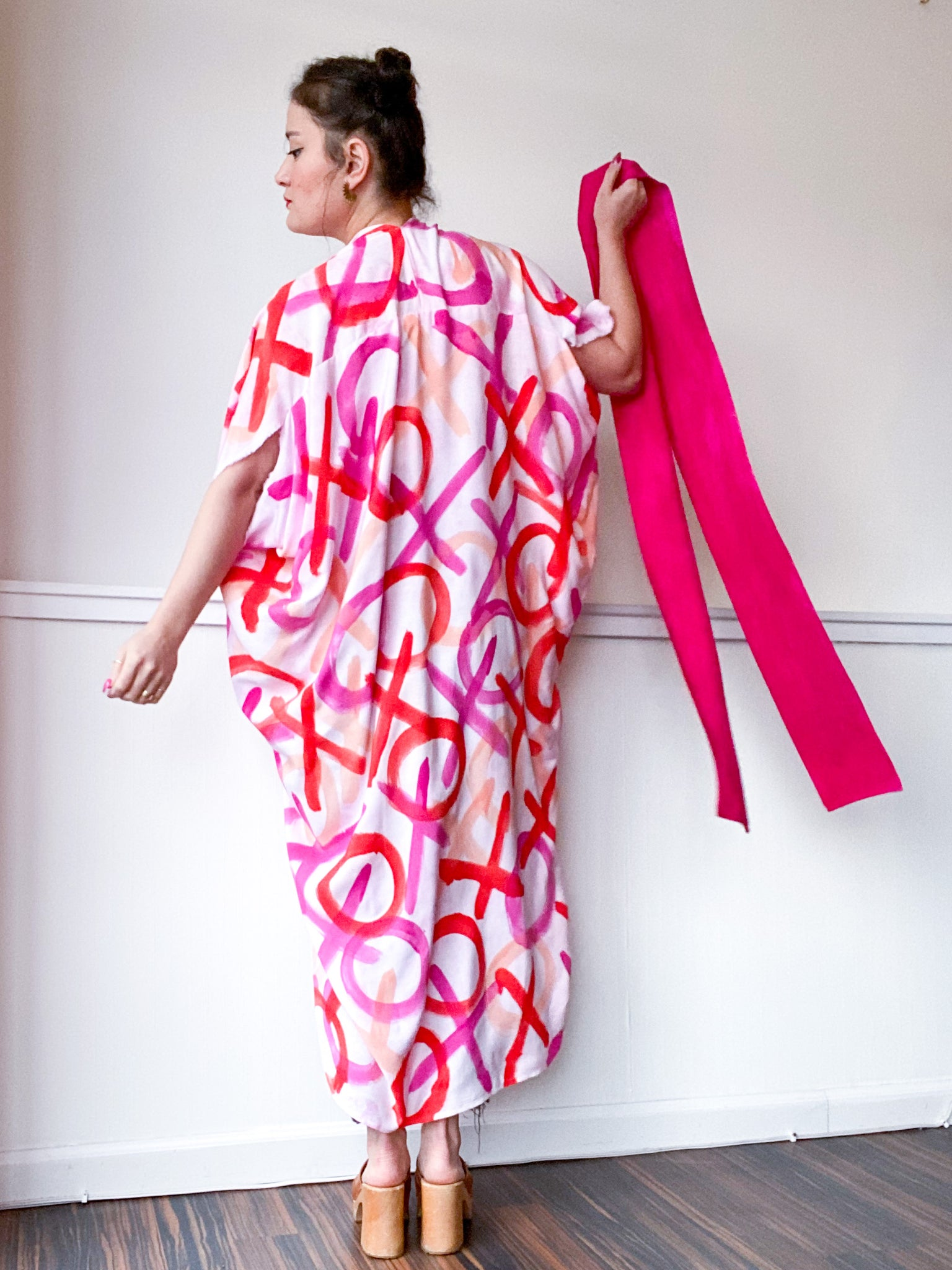 Limited Edition Hand-Dyed High Low Kimono XO Pink Red