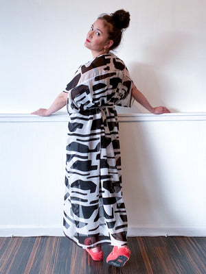 Print High Low Kimono Black White Abstract Chiffon