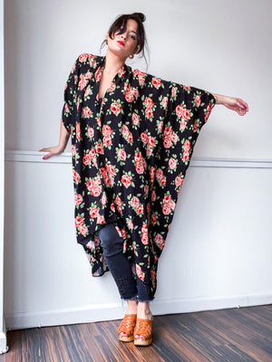 Print High Low Kimono Black Rose Floral