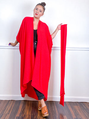Solid High Low Kimono Red Swiss Dot Crinkle Rayon