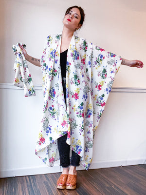 Print High Low Kimono Mini Bouquet Floral Bubble Crepe