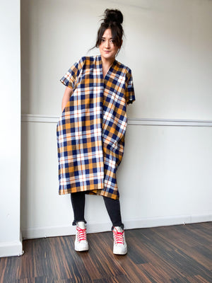 Plaid Midi Smock Dress Mustard Navy