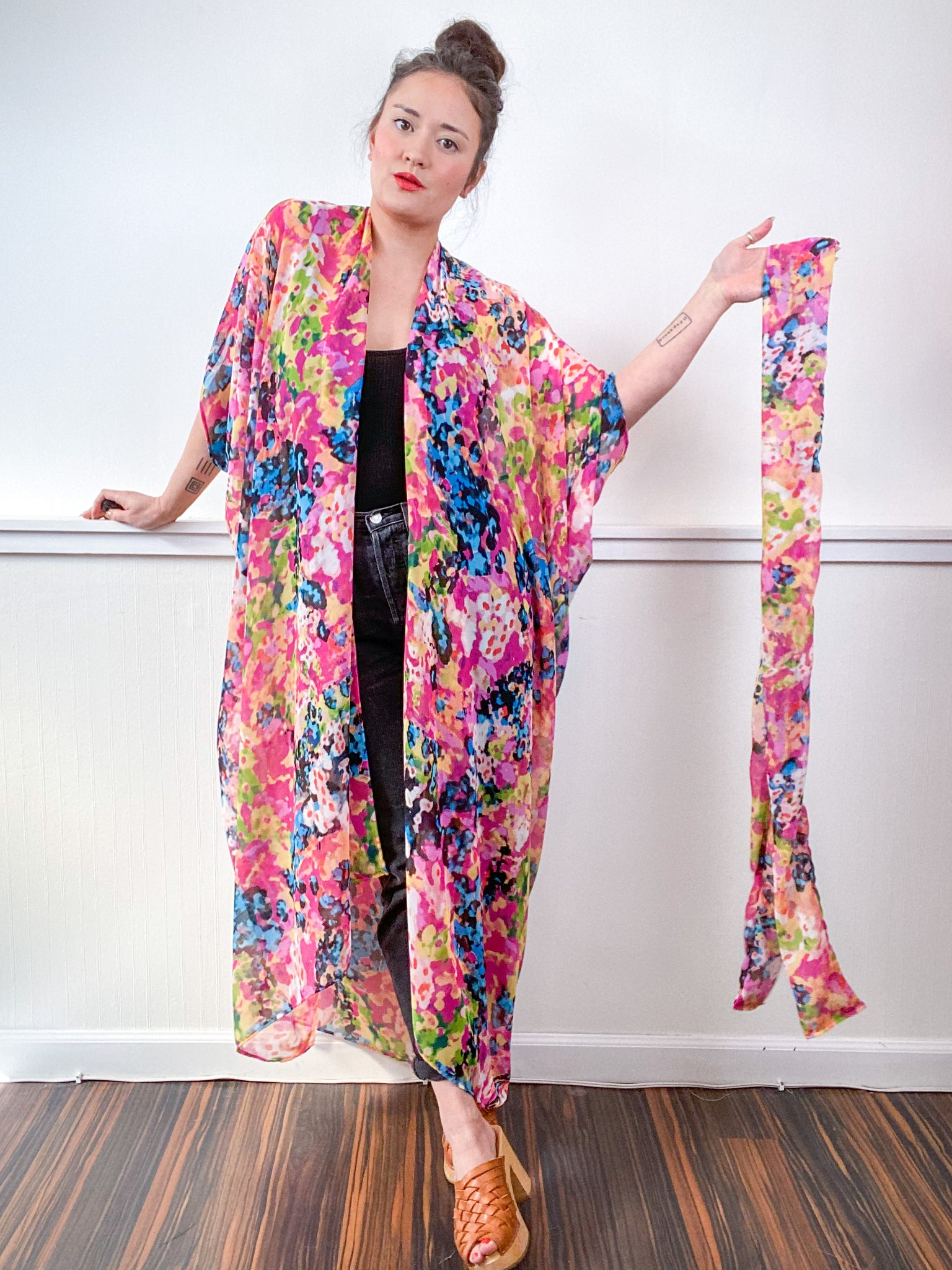 Print High Low Kimono Multi Watercolor Chiffon