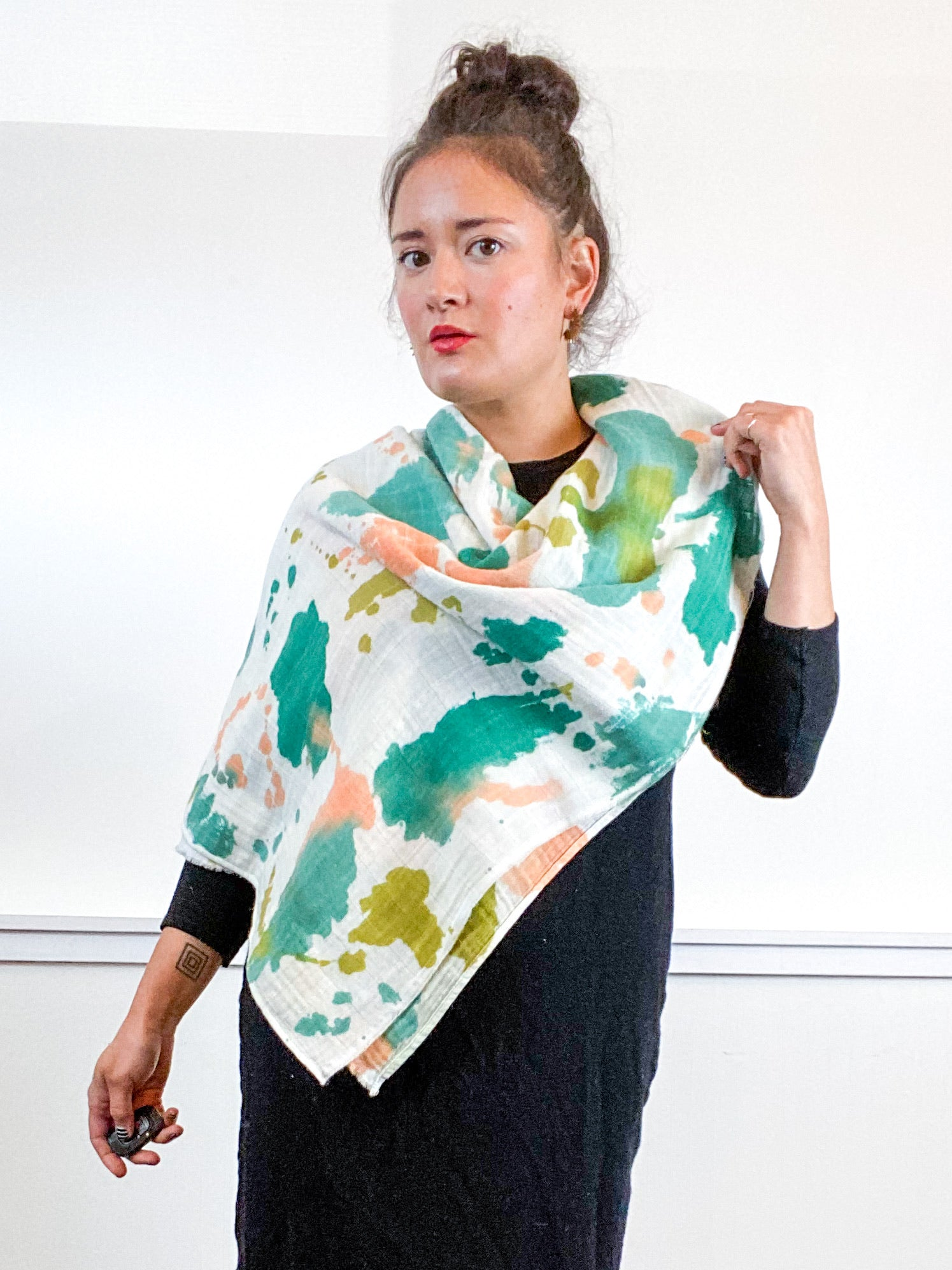 Hand-Dyed Large Square Scarf Emerald Flamingo Amber Sea