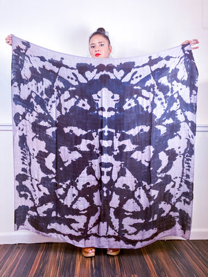 Hand-Dyed Large Square Scarf Grey Black Inkblot