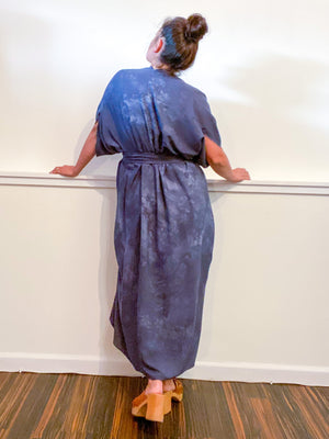 Hand-Dyed High Low Kimono Almost Solid Grey