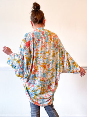 Hand-Dyed Waterfall Kimono Multicolor Speckle
