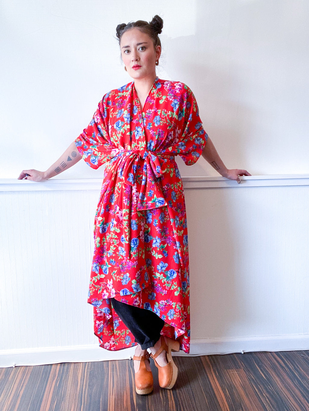 High Low Kimono Red Floral Bubble Crepe