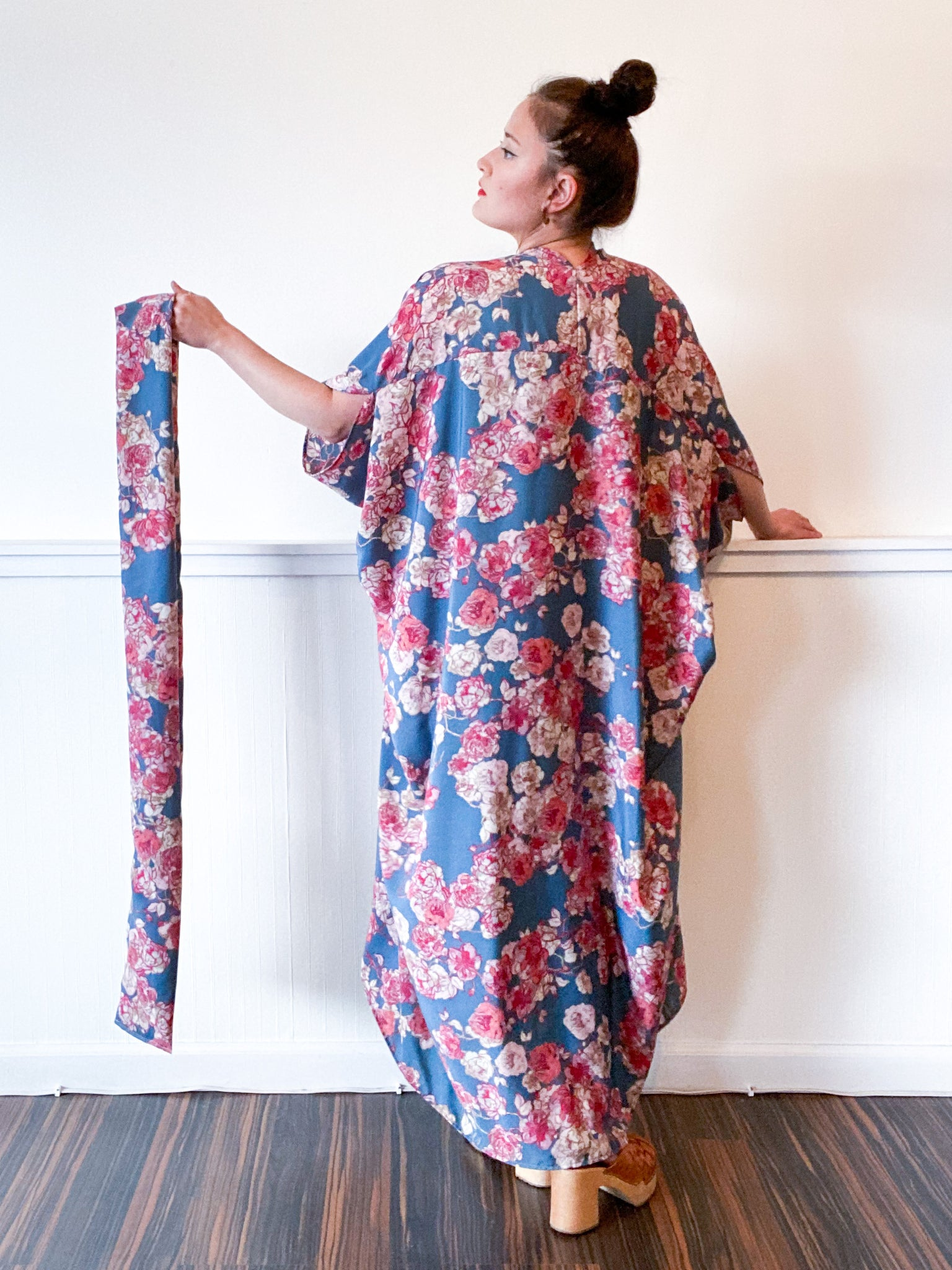 Print High Low Kimono Teal Rose Floral Georgette