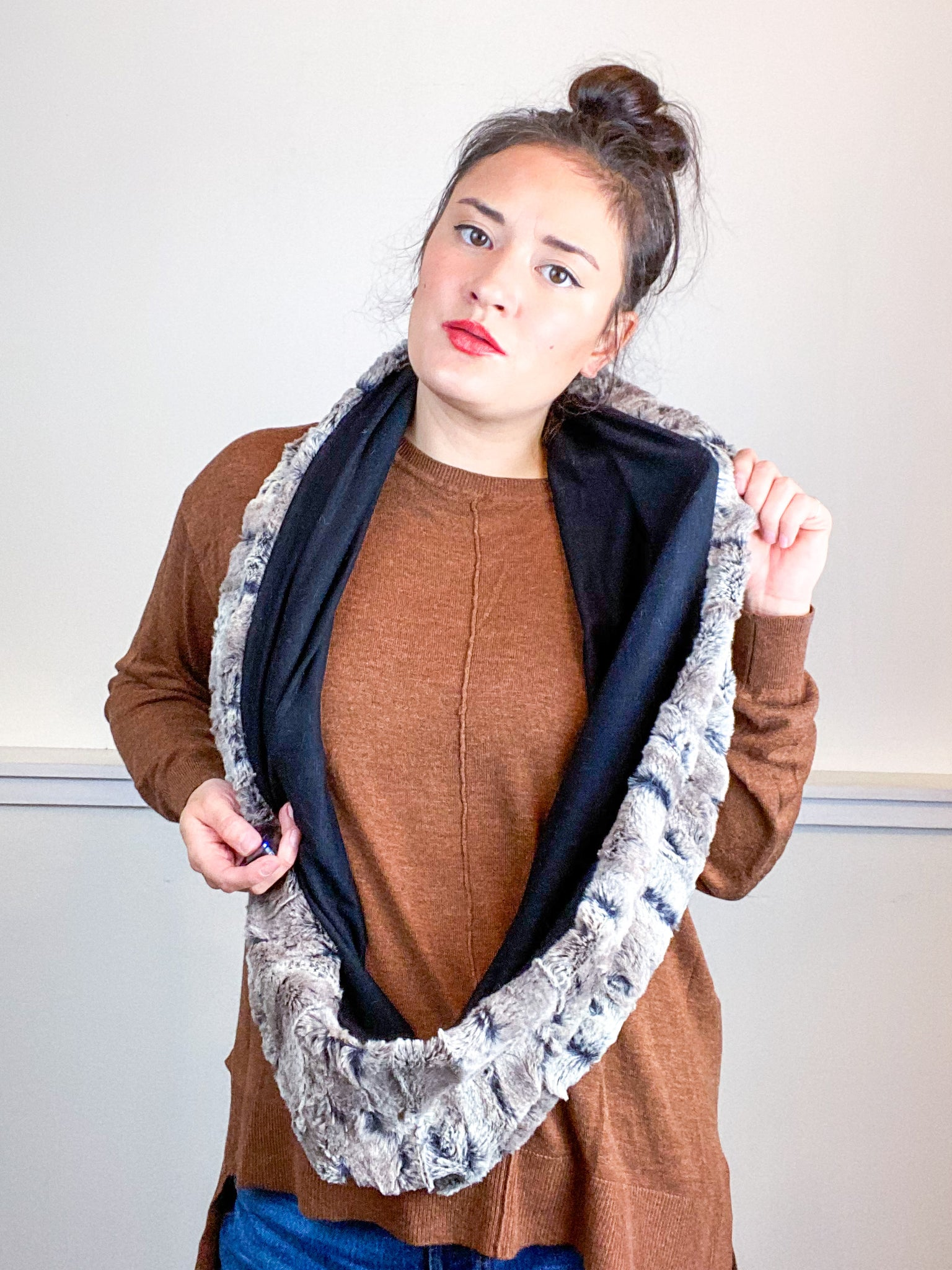 Faux Fur Circle Scarf Mocha on Black