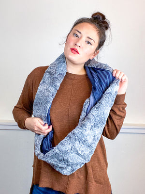 Faux Fur Circle Scarf Grey on Navy Stripes